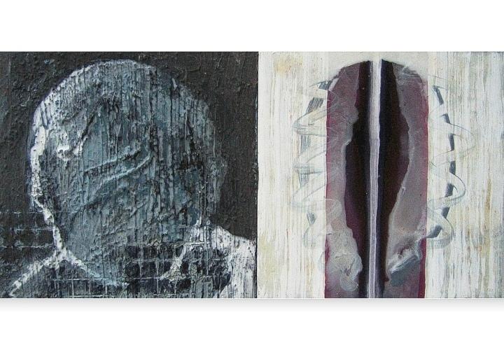 Being in mind 3 - acryl op paneel - 19x19 cm x 2