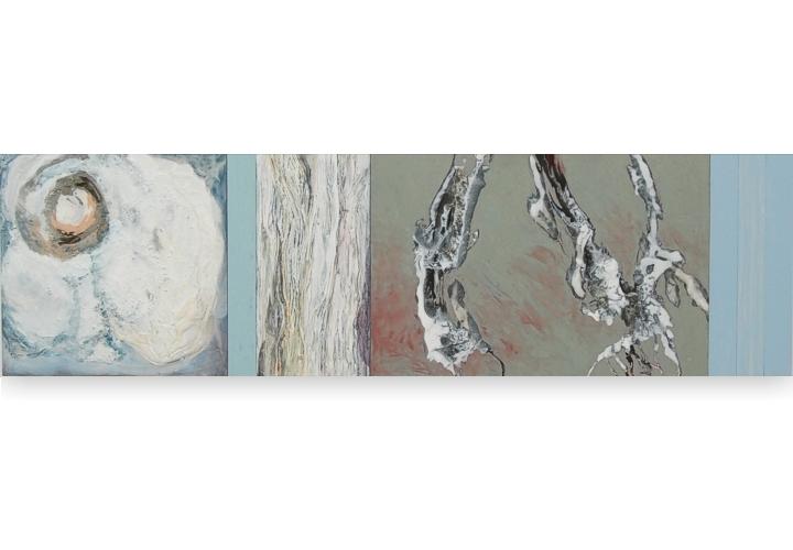 Toenadering no.6 - acryl op paneel - 105x30 cm
