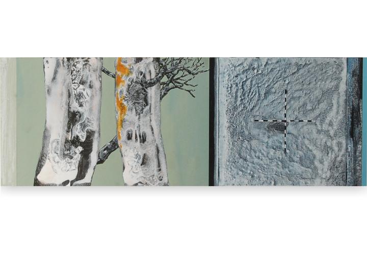 Toenadering no.9 - acryl op paneel - 86x30 cm