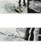 Boom en tegenhanger - acryl op paneel - 2 x schilderijtje 45x15 cm