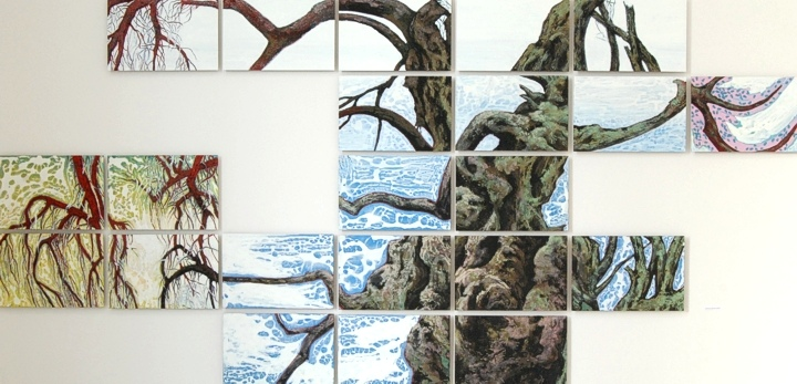 Old tree and the water 327x158 cm 2014